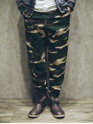 Loose-Fitting Camo Zipper Fly Patch Pockets Back Jogger Pants -