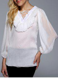 Flounce Ruffles Lace-Up See-Through Blouse -