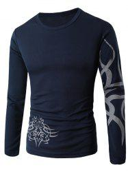 Round Neck Long Sleeve Dragon Print T-Shirt - CADETBLUE