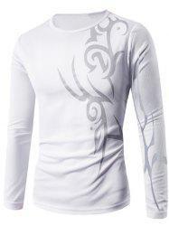 Round Neck Long Sleeve Abstract Pattern T-Shirt - WHITE XL