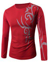 Round Neck Long Sleeve Abstract Pattern T-Shirt - RED
