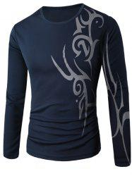 Round Neck Long Sleeve Abstract Pattern T-Shirt - CADETBLUE