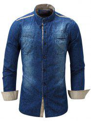 Paisley Print Pockets Long Sleeve Denim Shirt - DEEP BLUE