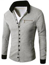 Zipper Embellished Button Up Cardigan -