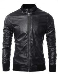 Zippered Rib Splicing Stand Collar Long Sleeves PU Leather Jacket - BLACK