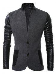 Stand Collar Long Sleeves Slit Back Leather Spliced Woolen Jacket - DEEP GRAY 3XL