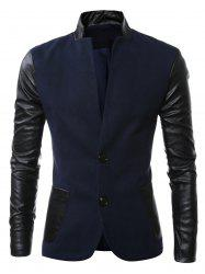 Stand Collar Long Sleeves Slit Back Leather Spliced Woolen Jacket - CADETBLUE