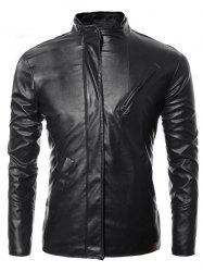 Side Zip Up Long Sleeves Faux Leather Jacket - BLACK 3XL