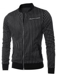 Zippered Breast Pocket Vertical Striped Long Sleeve Jacket