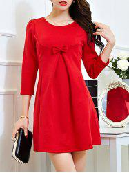 Lace Long Sleeve Plus Size Mini Dress - RED