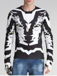3D Wolf Print Round Neck Long Sleeve Sweatshirt