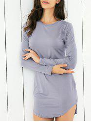 Long Sleeve Pure Color Club Dress - GRAY 2XL