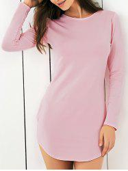 Manches longues Pure Color Club robe - ROSE PÂLE