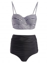 Stripe Spaghetti Strap Push-Up Swimsuit with High Waisted Bottom - BLACK XL