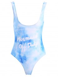 Letter Print One-Piece Backless Swimwear - AZURE XL