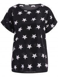 Stars Pattern Plus Size Scoop Neck Blouse - BLACK