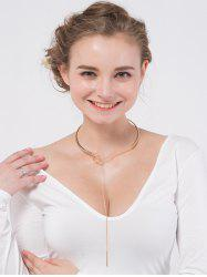 Bar Long Chain Lariat Torques Necklace