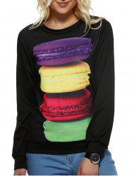 Long Sleeve Macarons Cookie Pattern Sweatshirt