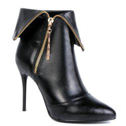 Stiletto Heel Tassel Metallic Zip Short Boots - BLACK