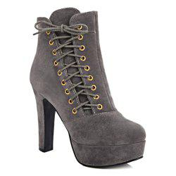 Chunky Heel Platform Side Lace-Up Short Boots