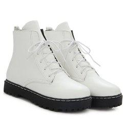 Flat Heel PU Leather Combat Boots
