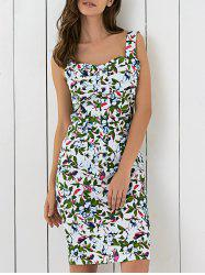 Charming Floral Printed Sleeveless Sweetheart Neck Sheath Dress