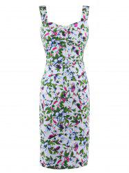 Button Up Floral Print Tea Length Bodycon Dress -