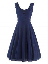 Mesh Insert Plunge Sleeveless Skater q940 Swing Dress - PURPLISH BLUE