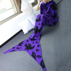 Comfortable Halloween Ghost Pattern Sofa Mermaid Blanket - PURPLE