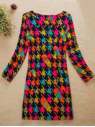 Colorful Houndstooth Jewel Neck Dress - COLORMIX 4XL