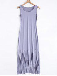 Casual Fringed Midi Tank Dress