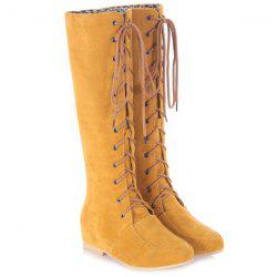 Wedge Tie Up Suede Knee High Boots