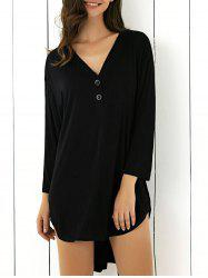Loose-Fitting Buttoned Asymmetric T-Shirt Dress