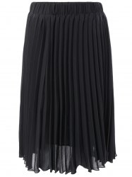 Elastic Waist Pleated Skirt - BLACK