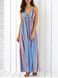 Geometric Boho Halter Backless Empire Waist Maxi Dress - COLORMIX