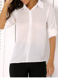 Plus Size Asymmetrical Chiffon Button Down Shirt