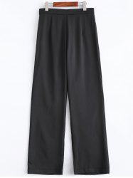 Business Suit High Waist Boot Cut Pants - BLACK
