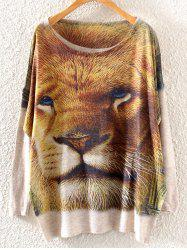 Lion Head Print Loose Knitwear