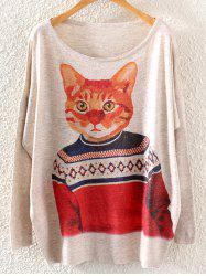 Cat Print Loose Knitwear -