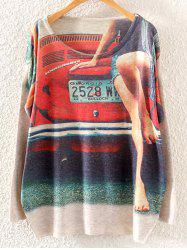 Sweetheart and Car Print Loose Knitwear -