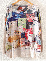 Cats Print Loose Knitwear - LIGHT KHAKI