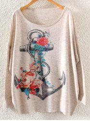 Floral Anchor Print Loose Knitwear -