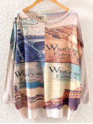 Letter Tower Print Loose Knitwear