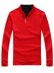Stand Collar Long Sleeve Letter Print Polo T-Shirt