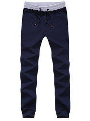 Lace-Up Color Block Spliced Beam Feet Jogger Pants -