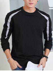 Round Neck Color Block Spliced Design Long Sleeve Sweatshirt
