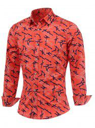 Chic Lines Print Turn-Down Collar Long Sleeve Shirt For Men - WATERMELON RED 5XL