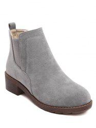 Elastic Band Round Toe Flock Ankle Boots