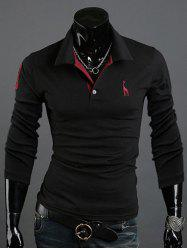 Animal Print Long Sleeve Slim-Fit Polo T-Shirt -