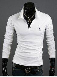 Animal Print Long Sleeve Slim-Fit Polo T-Shirt - WHITE